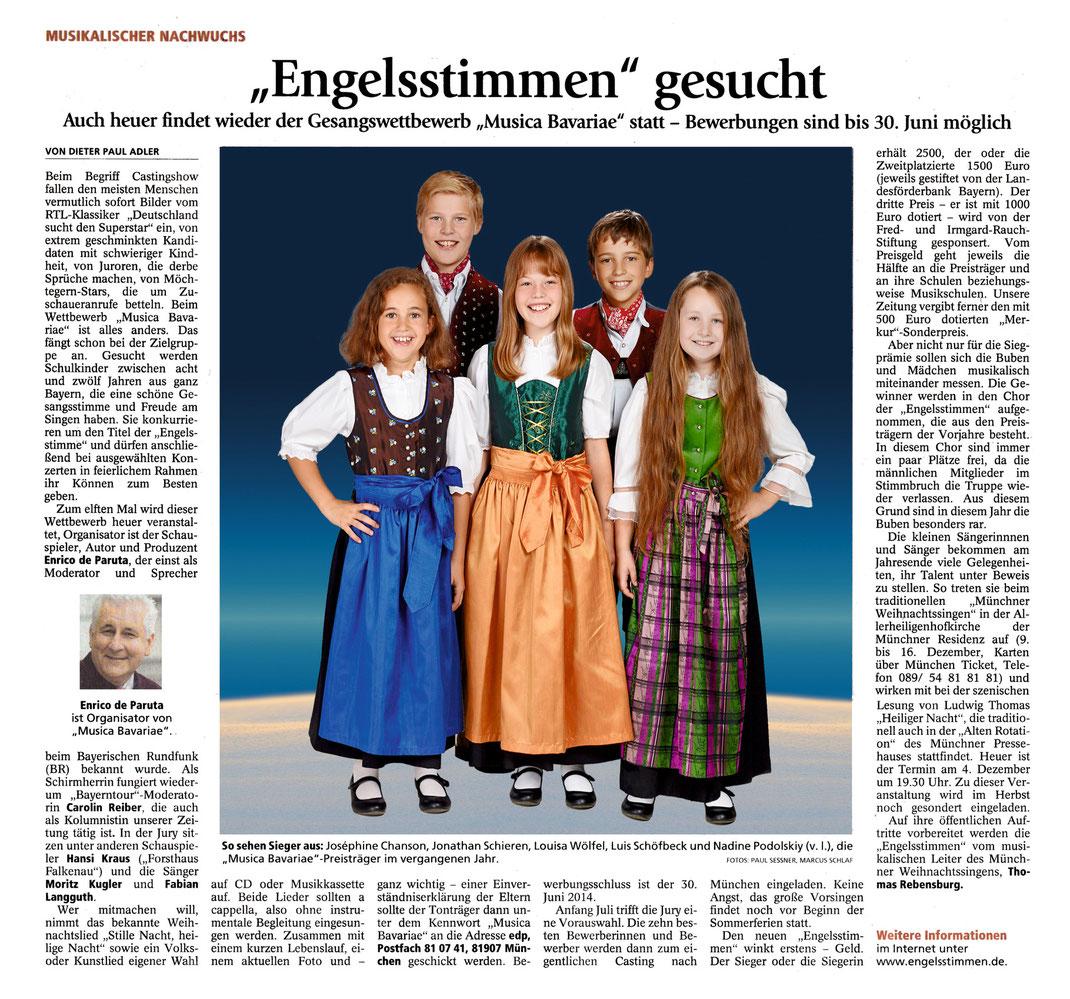 Merkur-Artikel zur Ausschreibung des 11. Gesangswettbewerbs musica Bavariae 2014, Gesamtausgabe, Menschen S. 5 vom 4.6.2014