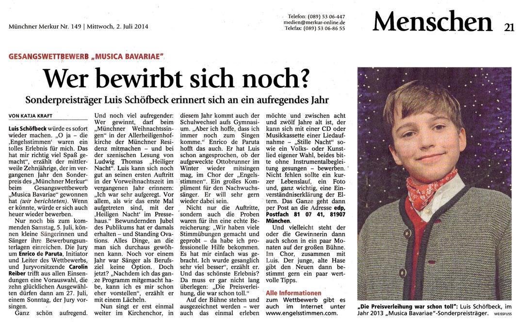Merkur-Artikel zur Ausschreibung des 11. Gesangswettbewerbs musica Bavariae 2014, Gesamtausgabe S. 21 vom 2.7.2014