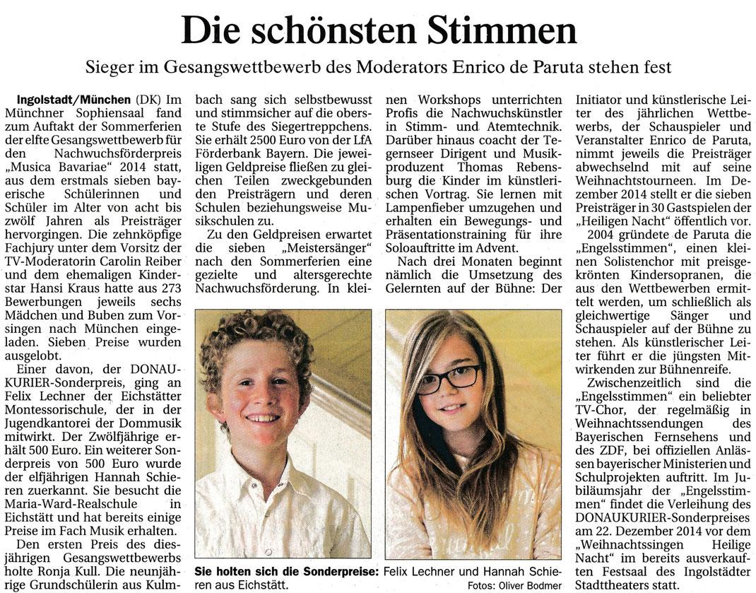 Donaukurier, Gesamtausgabe vom 31.7.2014 über den 11. Gesangswettbewerb musica Bavariae 2014