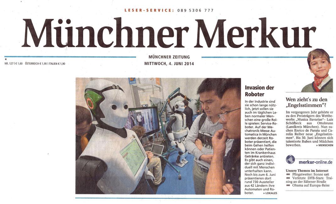Engelsstimme Luis S. auf der Titelseite des Merkur, Gesamtausgabe vom 4.6.2014