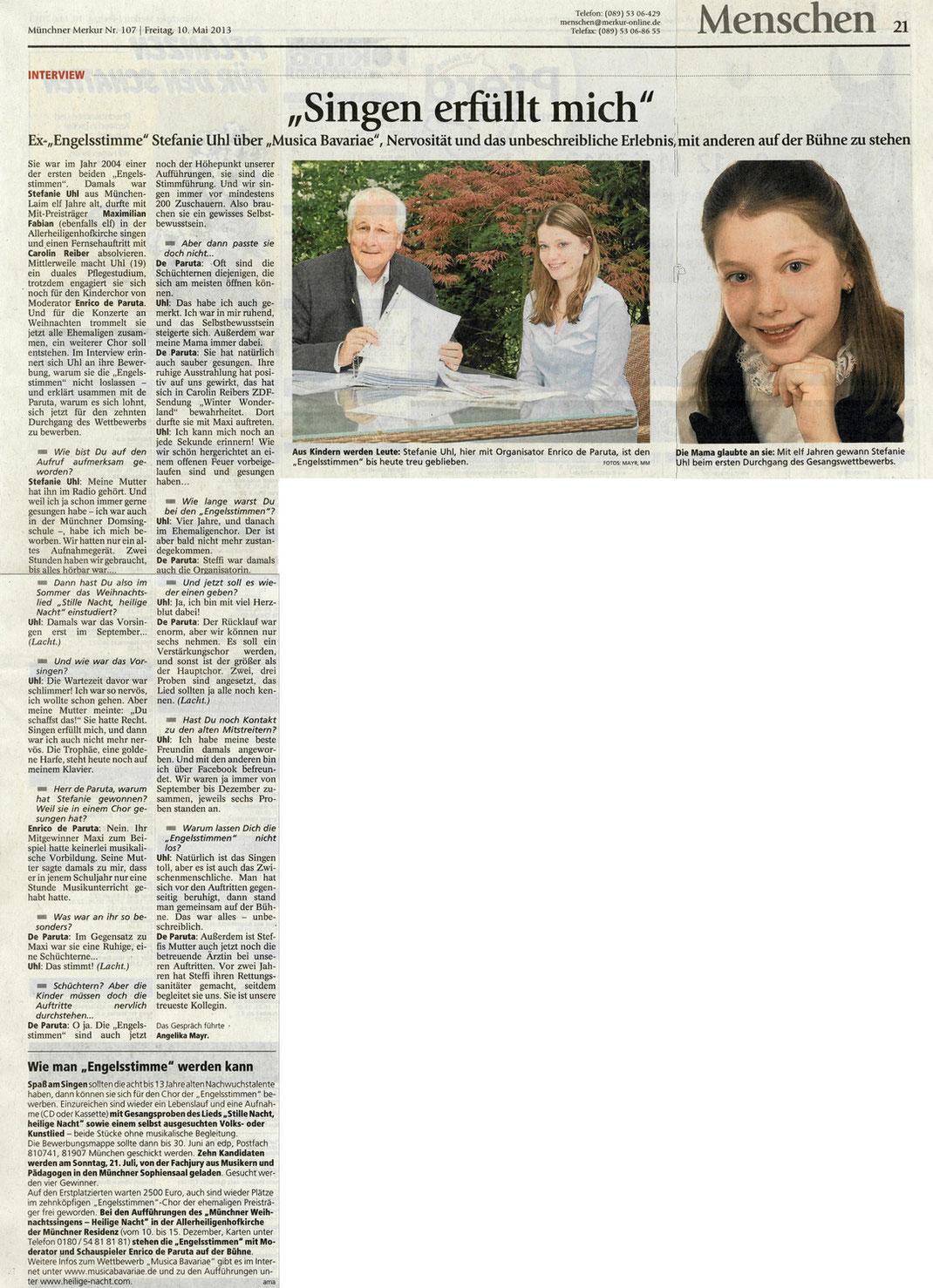 Artikel des Merkur vom 10.5.2013 in der Gesamtausgabe zur Ausschreibung des 10. Gesangswettbewerbs musica Bavariae 2013