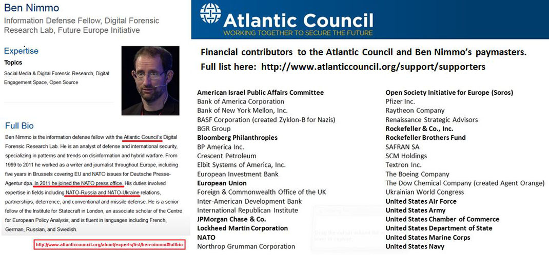 "Ben Nimmo - Atlantic Council ""analyst"" - Paymasters"