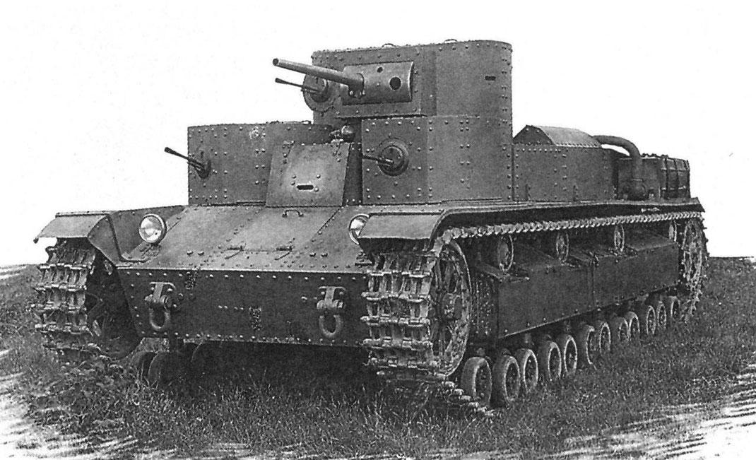 Le prototype du T-28 reprend les grandes lignes du char britannique de Vickers