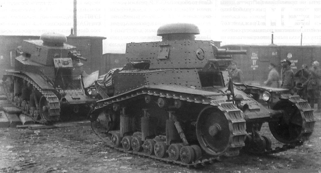 Le parc blindé soviétique en ce début d'année 1930 se limite à une poignée de T-18, copie du FT-17 français