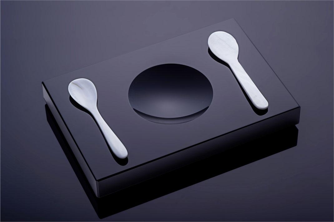 Kaviar Set aus Schwarzglas von Black Glass