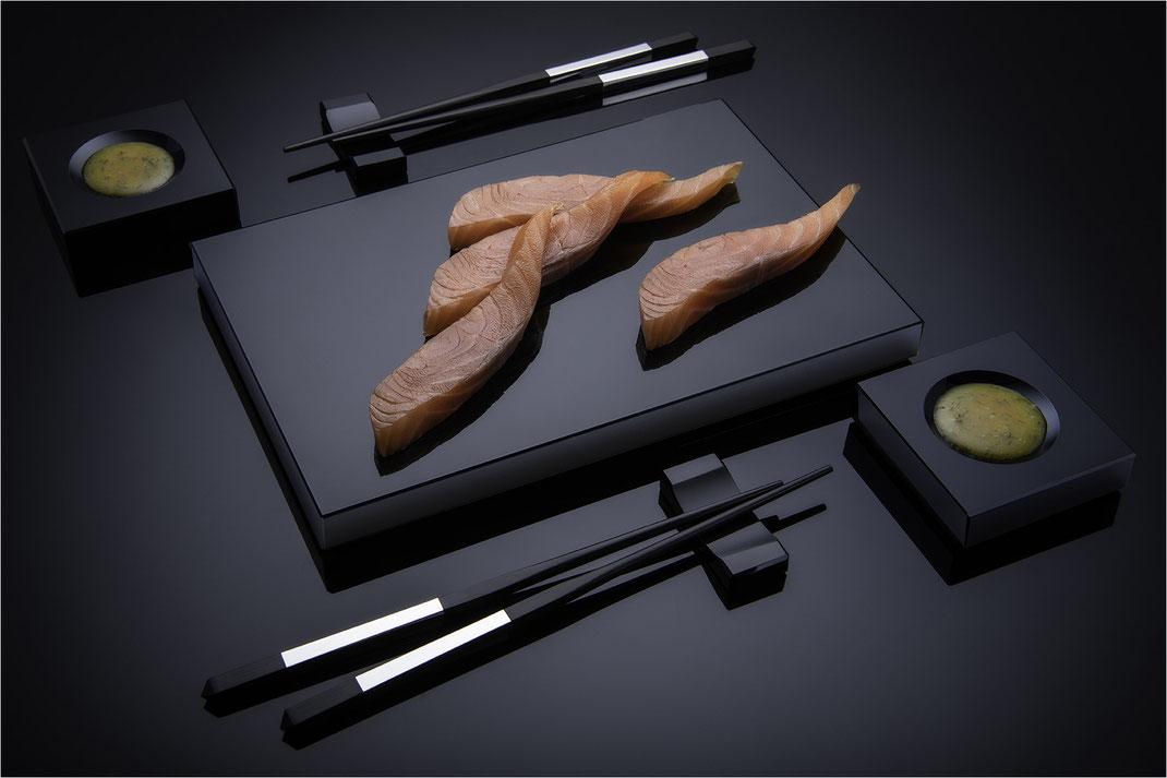 Sushi Service, Sushi Geschirr aus Schwarzglas von Black Glass