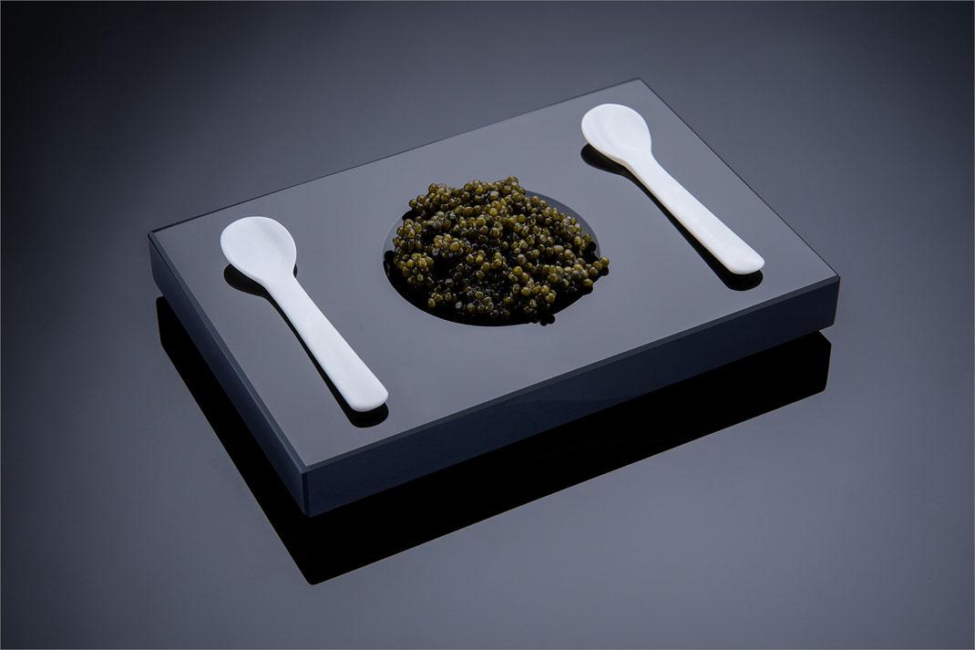 Kaviar Set, schwarzes  Kaviar Service aus Schwarzglas