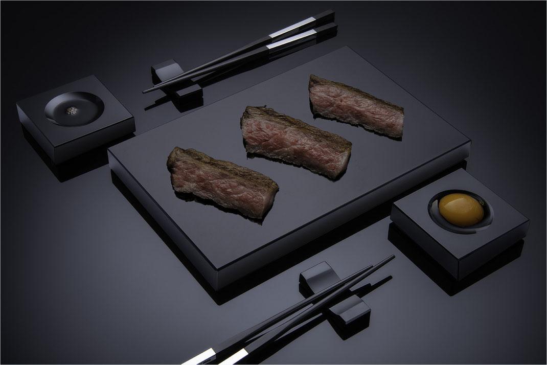 Sushi-Set, schwarzes Sushi Geschirr, Sushiplatte  aus Schwarzglas