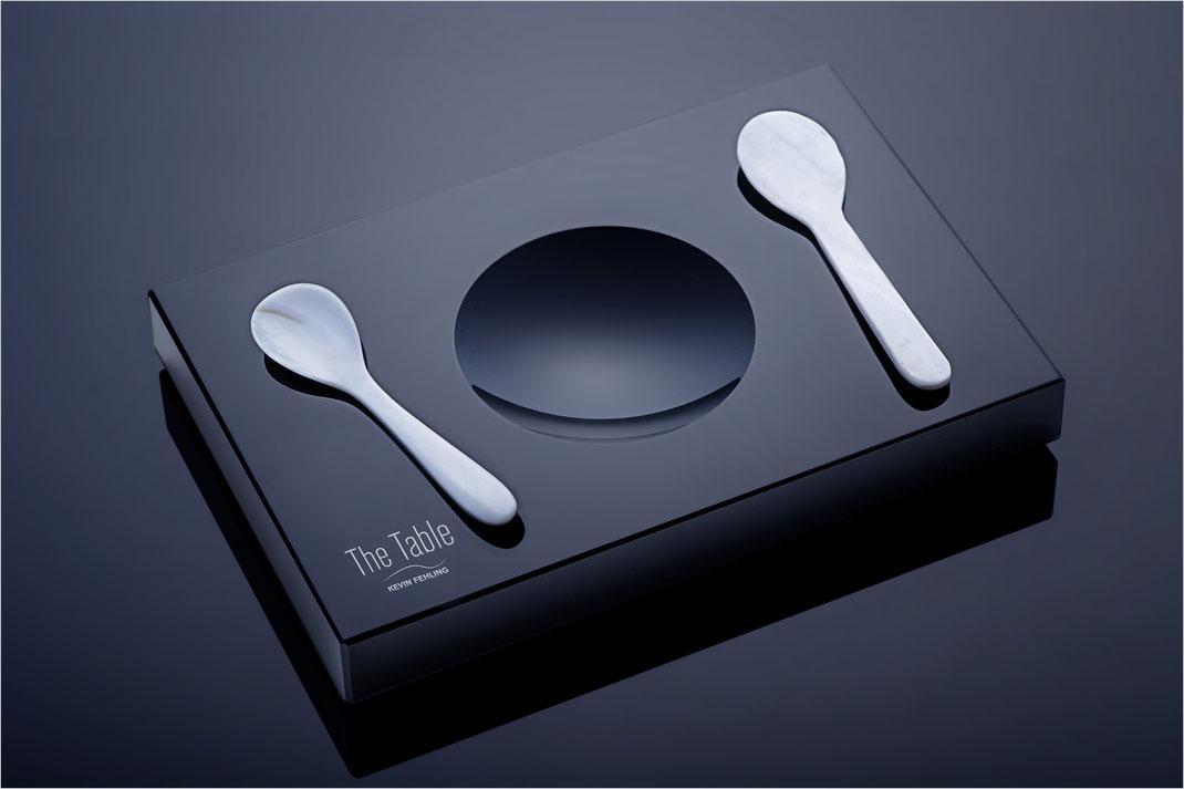 Kaviar-Set aus Schwarzglas von Black Glass