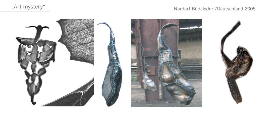 Kokon Gartenobjekt Garten Skulptur metal Metall Katharina Mörth Skulptur Sculpture moderne Kunst Art mystery Nord Art Büdelsdorf Kunstforum International