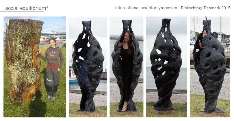 Kokon Gartenobjekt Garten Skulptur Holz wood Katharina Mörth Skulptur Sculpture moderne Kunst Art sculpture network oak Eiche Bildhauerei