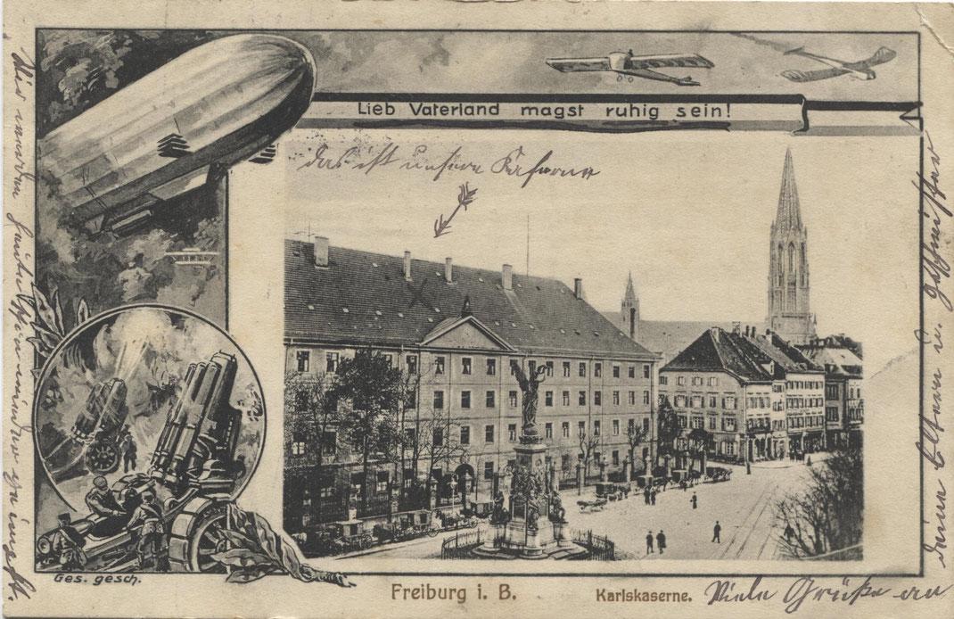 Patriotismus im Ersten Weltkrieg. Hier die Karlskaserne am Siegesdenkmal. (Bild: Archiv Oehler)