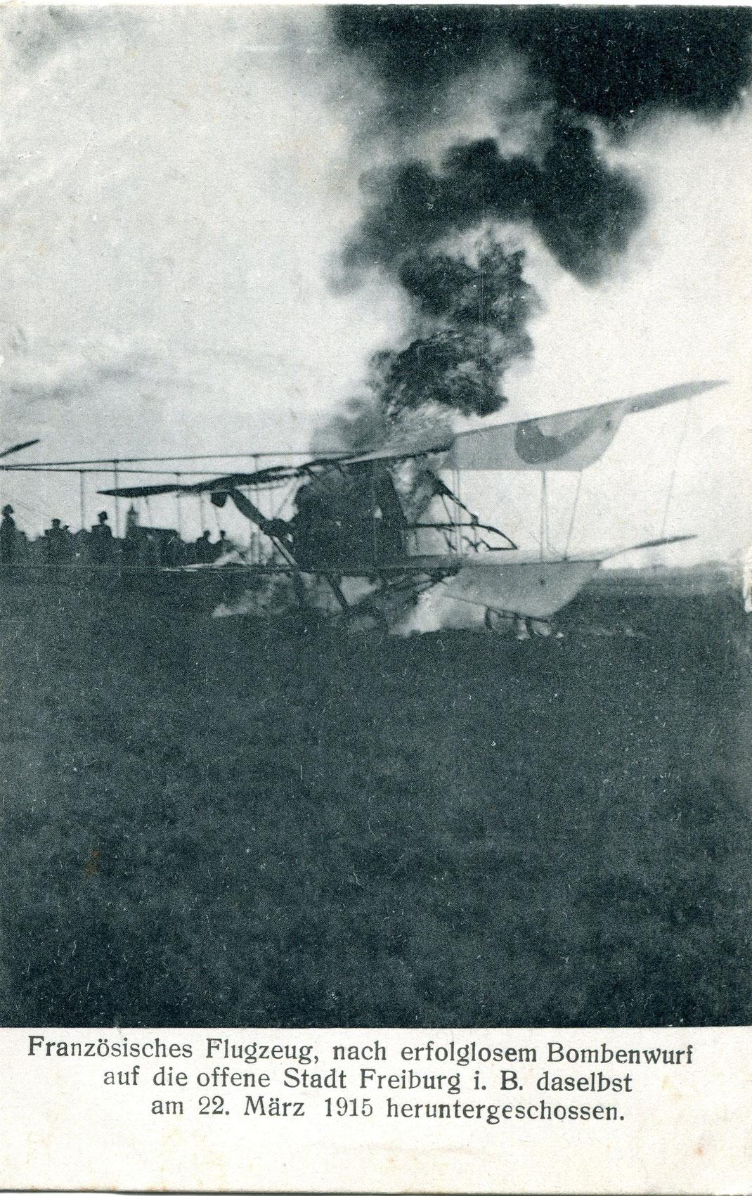 Abgeschossenes Französisches Flugzeug (Bild: Archiv Oehler)