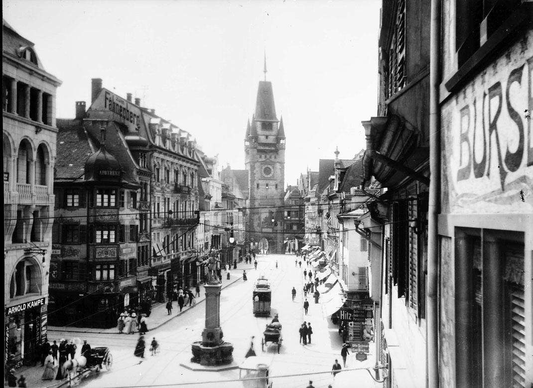 Bertoldsbrunnen ca 1900 - Bild: Sammlung Willy Pragher/Landesarchiv BW