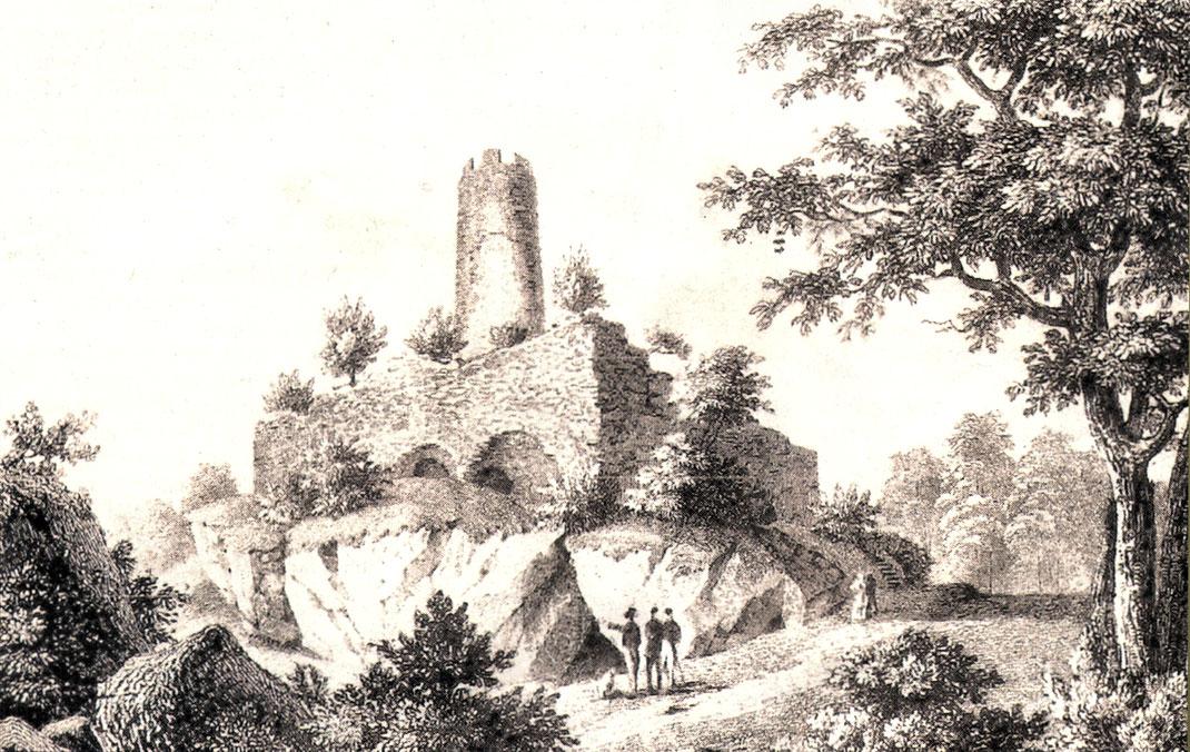 Stammburg der Zähringer nahe Freiburg-Zähringen (Romantischer Stich der Ruine um 1850)