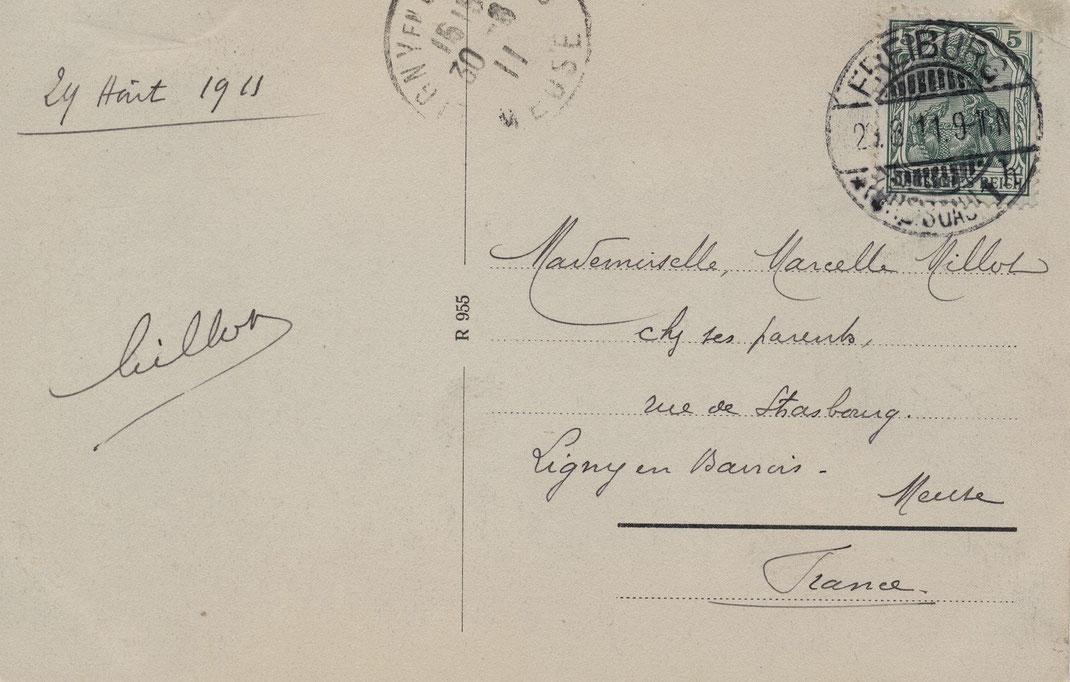 Rückseite der Postkarte aus dem Jahre 1911