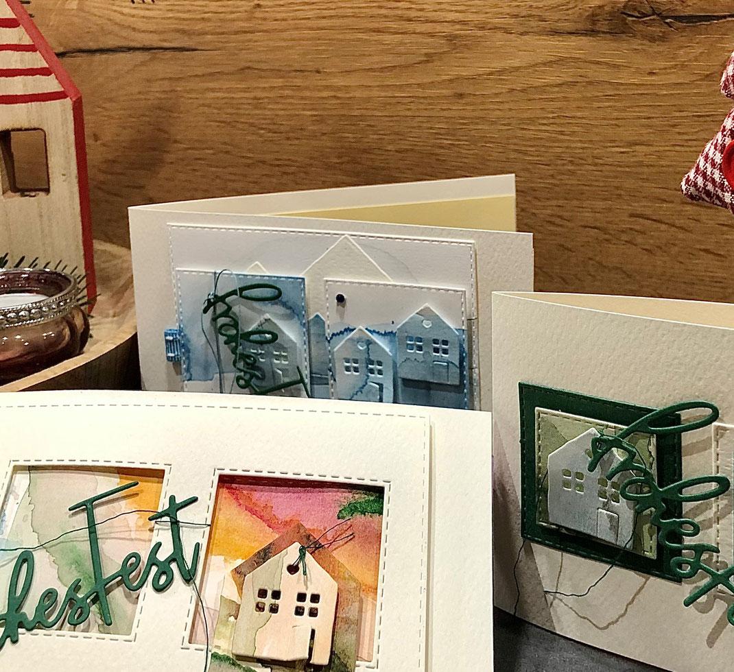 Aquarell, Corona, Weihnachten, Karten selbst gestalten