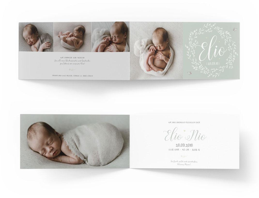 Geburtskarte Geburtsanzeige Schweiz Kartendings.ch 4-seitig mit 4 Seiten Klappkarte Blumenkranz