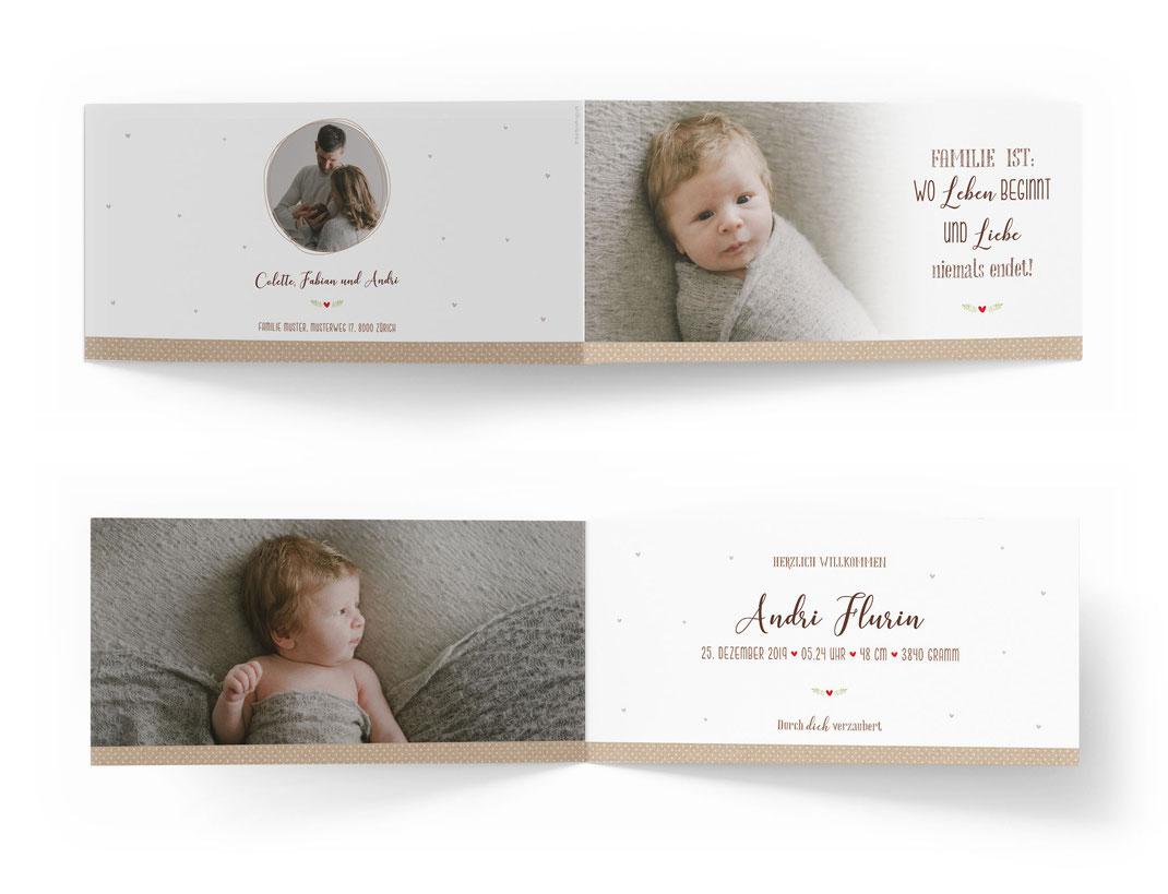 Geburtskarte 4-seitig Schweiz Geburtsanzeige Baby Vintage Retro kartendings.ch