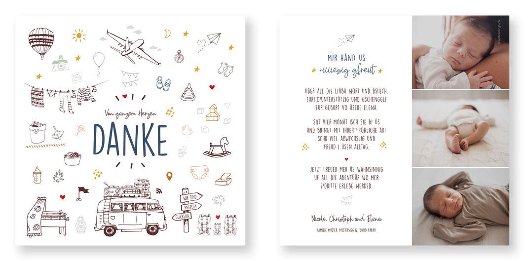 Geburtskarte Geburtsanzeige Dankeskarte Baby Schweiz Reisen originell Bus Campen