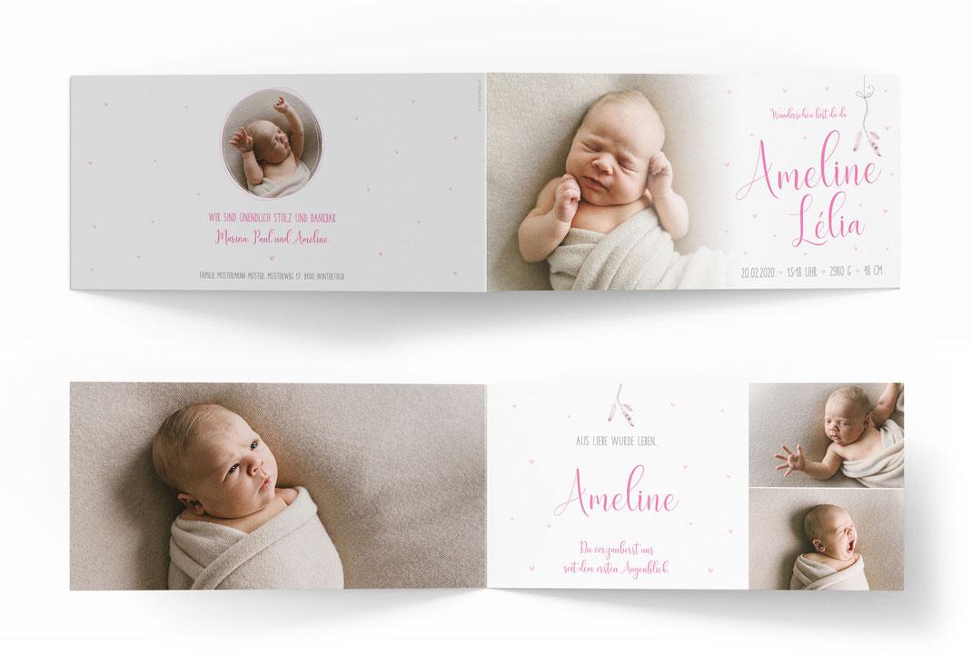 Geburtskarte Geburtsanzeige Schweiz mit Federn kartendings.ch