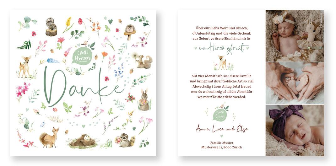 Dankeskarte Baby Danke Karte Geburt Waldtiere Blumen kreativ originell Schweiz kartendings.ch