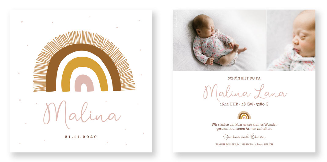 Geburtskarte Geburtsanzeige Schweiz kreativ Kartengins originell Baby