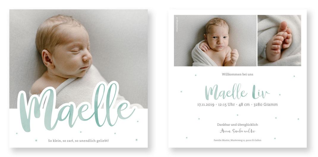 Geburtskarte Geburtsanzeige Babykarte Schweiz kartendings.ch
