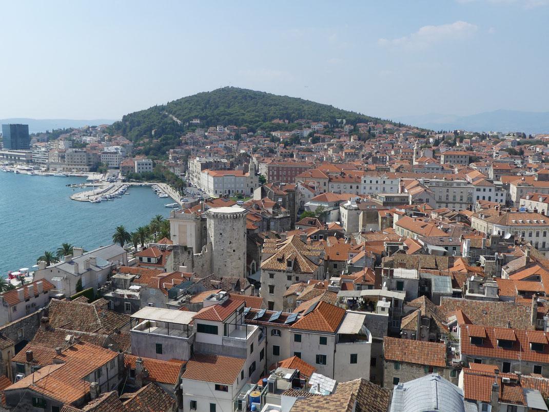 Vue depuis la tour de la cathédrale de Duje, Split.