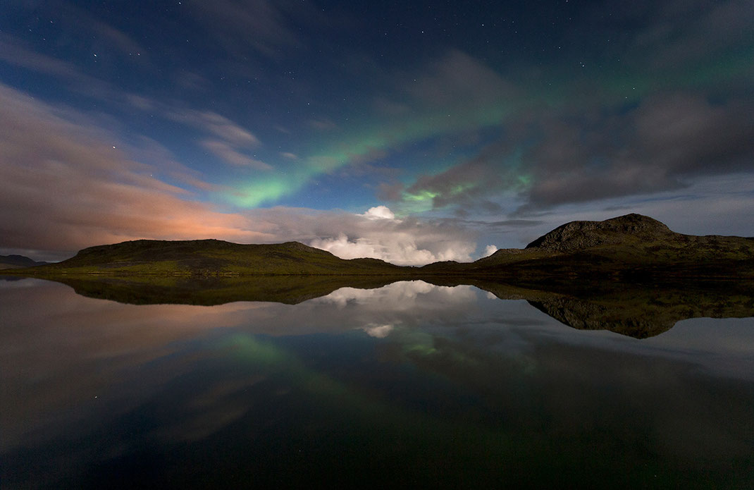 Aurora Borealis, Northern Lights at Snaefellsnes, Lake Reflections, Grundarfjördur, 1280x831px