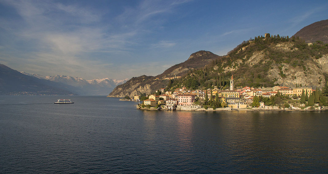 Varena Historical romantic City at the Lago di Como with Alps, Dji Phantom, Drone, Italy, 1280x680px