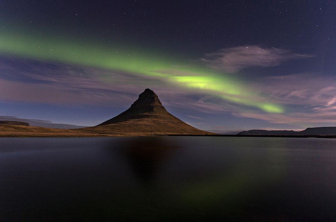 Aurora Borealis, Northern Lights at Kirkjufell, Snaefellsnes, Grundarfjördur, 1280x847px