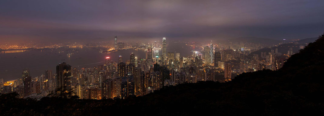Hong Kong, Kowloon illuminated Skyline as seen from the Peak, China, Asia, Panorama, 3000x1077px