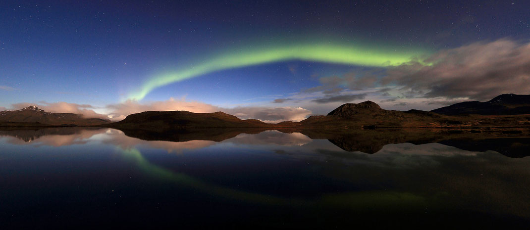 Beautiful green Aurora reflecting in a lake, Snaefellsnes, Iceland, Panorama, 3000x1304px