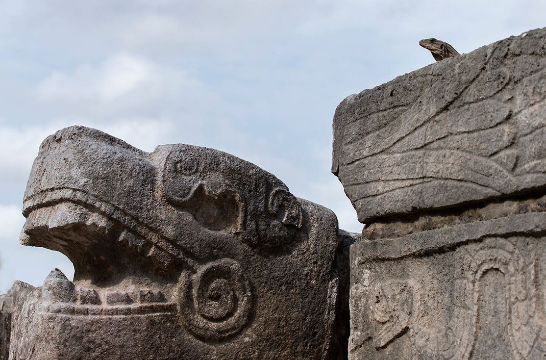 Big Lizard and Maya rock snake symbol in Chichen Itza temple ruin, Yucatan Peninsula, Mexico, 1280x844px