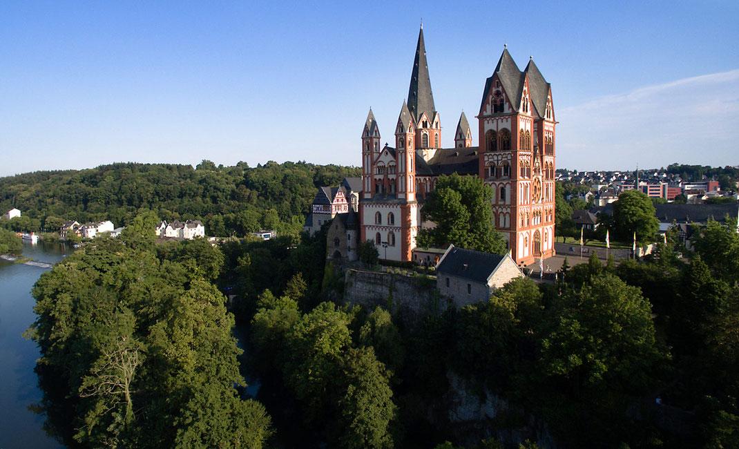 Beautiful Limburger Dom, Cathedral at the romantic river Lahn, aerial, dji, phantom, Germany, 1280x778px