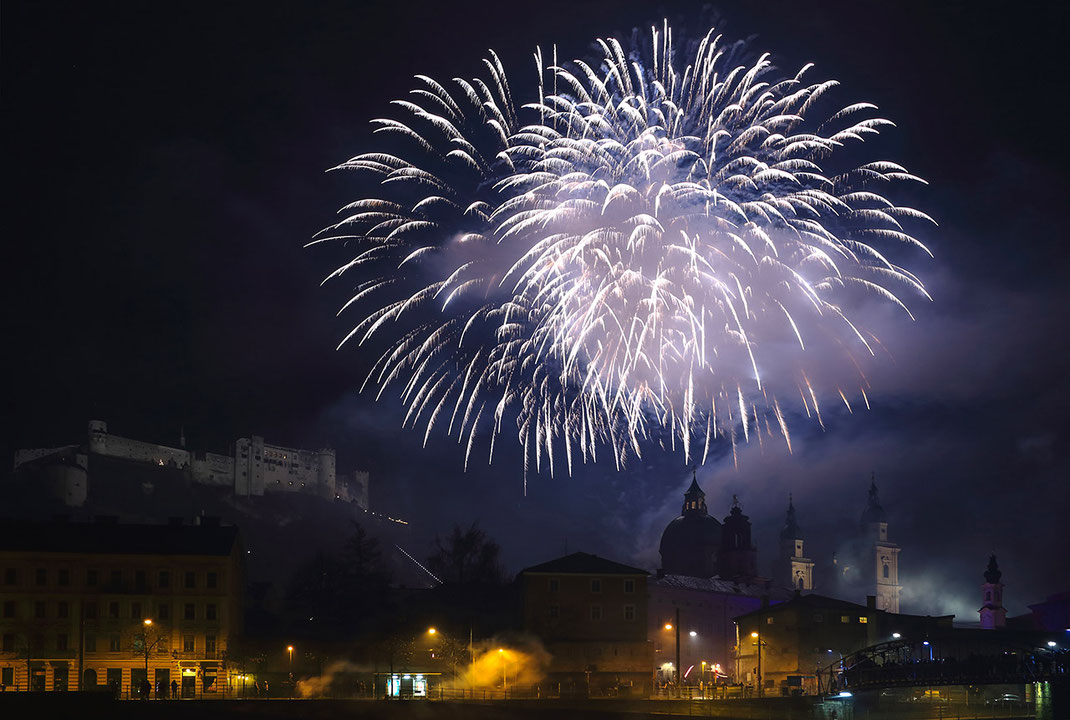 Salzburg Austria Fireworks at New Year with Castle and Churches in the background, 1280x861px