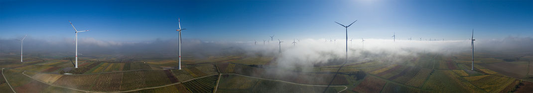 Wind Energy and Autumn Fog with Sunshine, Wine Region, Dji Phantom, Drone, Germany, Panorama, 3000x526px