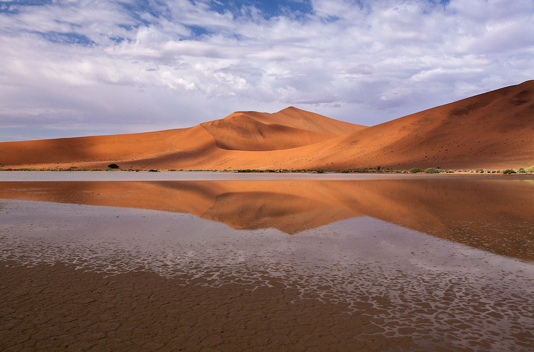 Orange Sossusvlei sand dunes reflecting in water after rain, Namib Desert, Namib Naukluft Park, Namibia, 1280x844px