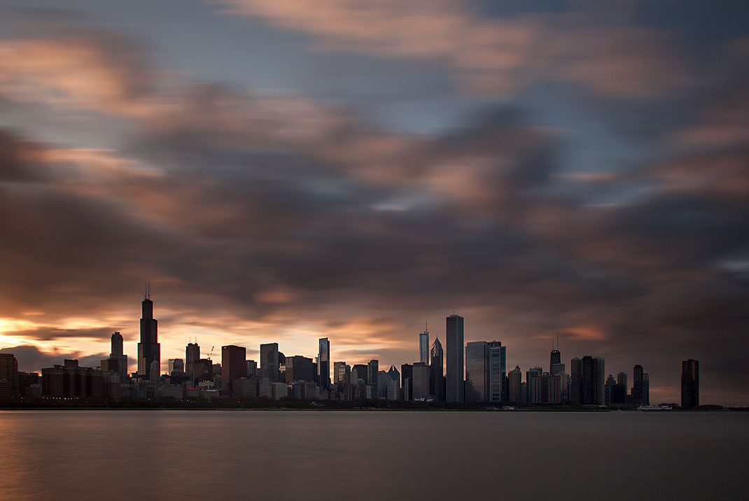 Downtown Chicago seen from the Planetarium, Dramatic Clouds, Long Exposure, Skyscrapers, Chicago, USA, 1280x856px