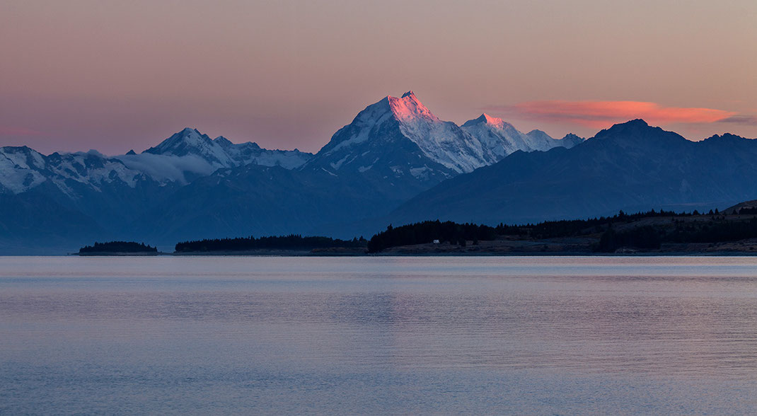 Mount Cook, Aoraki with snow summit at sunrise with red glow, Southern Island Alps, New Zealand, 1280x703px