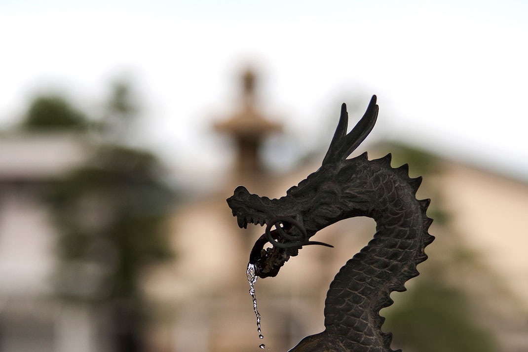Bronze Dragon figure, Fountain in a Shrine, Temple in Kanazawa, Japan, 1280x853px