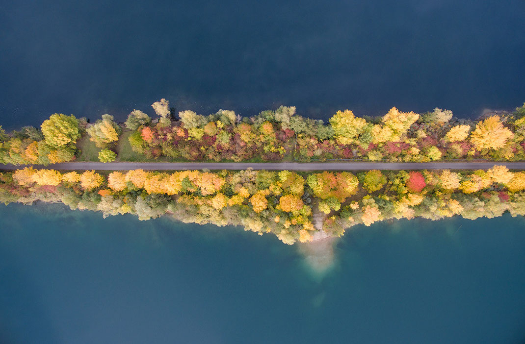 Autumn leaves and colors on a pathway dividing two lakes, Dji Phantom, Drone, Leeheim, Germany, 1280x840px