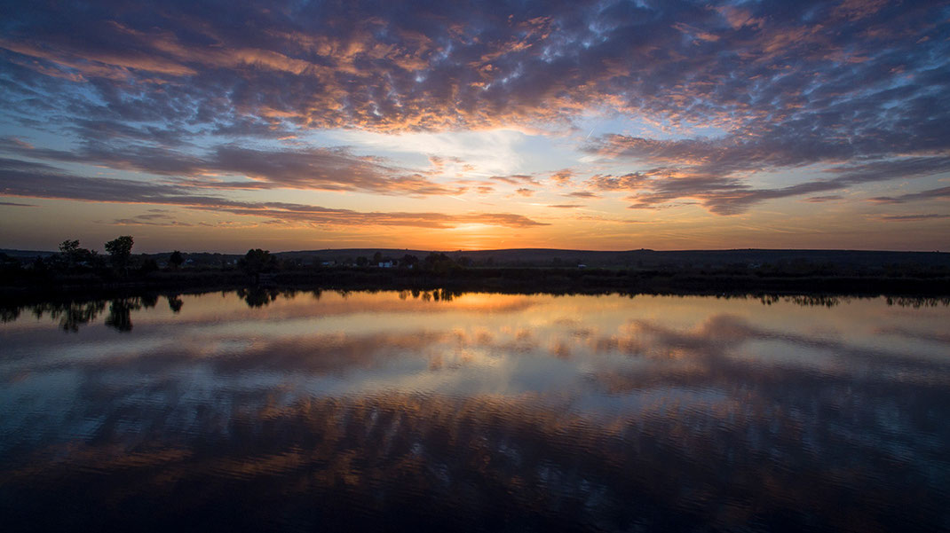 Beautiful Sunset at Kornsand Trebur with clouds reflecting, Dji Phantom, Drone, Germany, 1280x719px