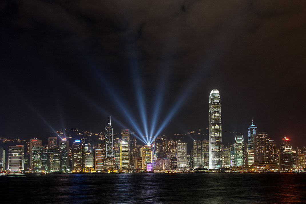 Hongkong Kowloon Illuminated Skyscrapers, Long Exposure, Laser Show, China, 1280x853px