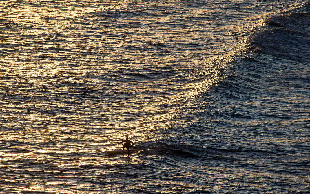 Stand Up surfer riding waves in the beautiful evening light at the ocean, Brazil, 1280x799px