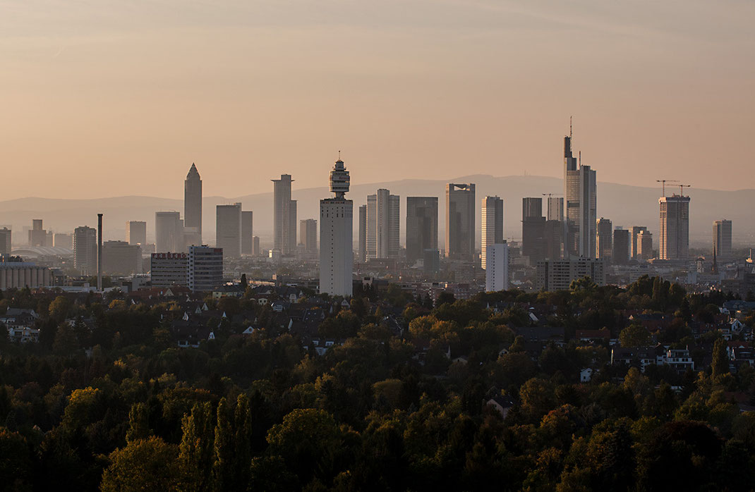 Frankfurt Skyline in sunset light, Goetheturm Observation Tower, Skyscrapers, Frankfurt, Germany, 1280x835px