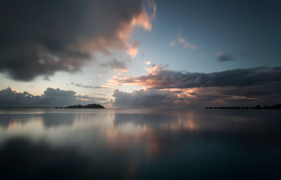 Beautiful reflection at sunrise, warm colors, tropical clouds, Bora Bora, South Pacific, French Polynesia, 1280x822px