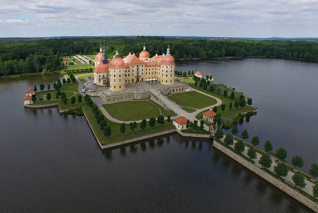 Beautiful historical Moritzburg Water Castle, Dji Phantom, Drone, Saxony, Germany, 1280x856x