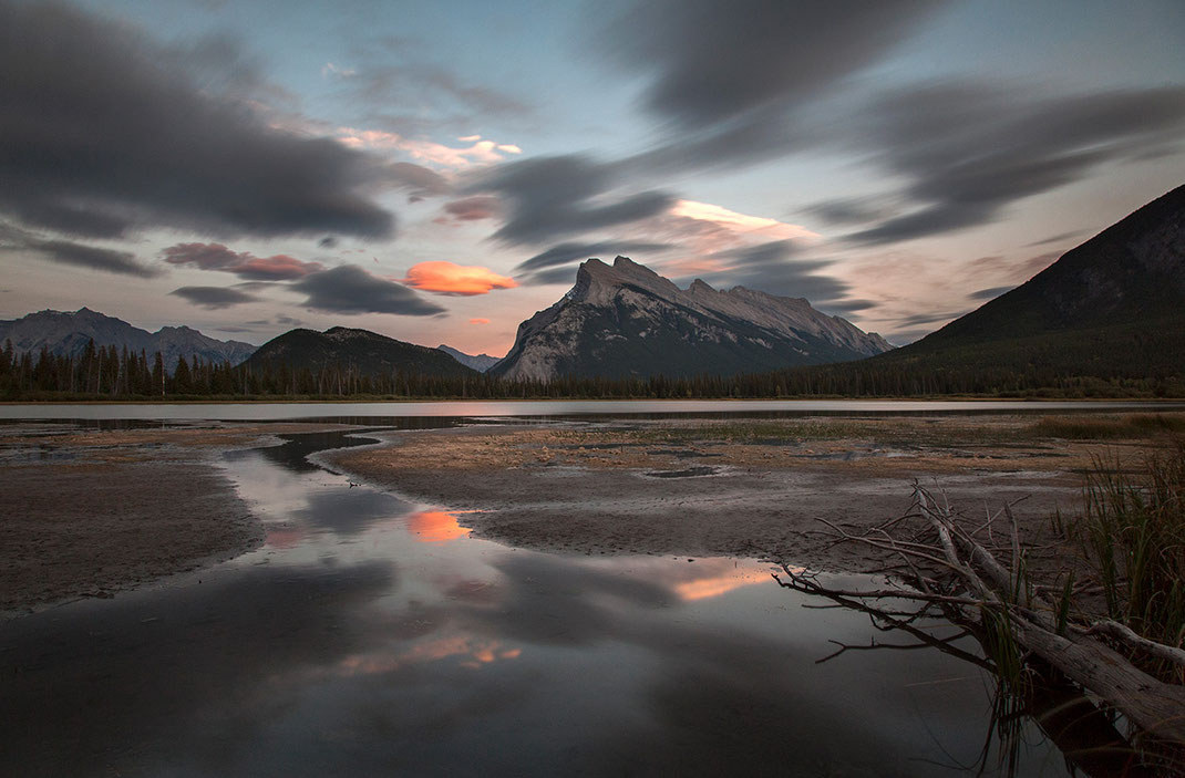 Beautiful soft color sunset at Vermillion Lakes with reflections, long exposure, Banff National Park, Alberta, Canada, 1280x841px